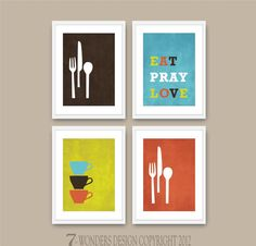 Modern Kitchen Wall Art Print Set  Inspirational by 7WondersDesign, $45.00