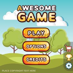 Main menu game interface kit. Creative ui templates for web mobile and computer video games. Sunny hills level concept