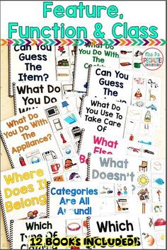 Develop language skills with these feature, function and class interactive books. These adapted books are perfect for special education classrooms, speech therapy, self-contained classrooms, life skill programs and pre-school classes. Students love to participate and get their hands on these books!!