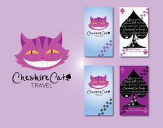 Cheshire Cat Travel - Cheshire/Wonderland inspired logo/business cards by melissarosedesigns