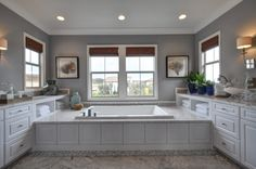 PCS Frameless Cabinetry: Hamilton Thermofoil door style with a White finish Sag Harbor New York, Modern Bathroom, Master Bathroom, Wood Paneling, Corner Bathtub, New Homes, It Is Finished, Bathtubs, Doors