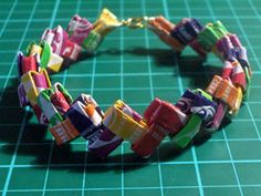 Candy wrapper bracelet--the best wrappers were Starburst because they were a little waxy and very colorful. Dayna made the best stuff out of wrappers! Origami, Starburst Bracelet, Freebies, Cute Bracelets, Making Bracelets, Jewelry Making, Bangles, Candy Wrappers, Crafts For Teens