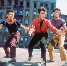 West Side Story (1961) Academy Award winning film. Romeo and Juliet inspired story of native born and Puerto Rican kids battling it out on the streets of New York. George Chakiris seen here won an Oscar for his role as Bernardo, leader of the Sharks. Rita Moreno, would also garner an Oscar for her role in this film.