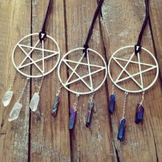 Handmade Druzy Point Necklace, Large Pentagram Hoops, pentagram necklace, pentacle necklace, Quartz crystal druzy necklace on Etsy, $60.00