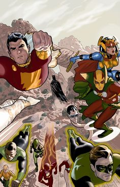 Justice League of America by Daniel Acuna with Captain Marvel (Shazam). Green Lantern, big barda and mister miracle (DC) Arte Dc Comics, Marvel Comics, Ms Marvel, Teen Titans, Justice League, Captain Marvel Shazam, Big Barda, Comics Love, Dc Comics Characters