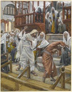 Jesús expulsa a un espíritu de un hombre poseído en la sinagoga / Jesus Rebukes an unclean spirit in a Possessed Man in the Synagogue / Jésus chasse un possédé de la synagogue (Luke 4:33-37)