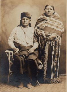 An unidentified couple of the Osage Nation. No date or additional information.
