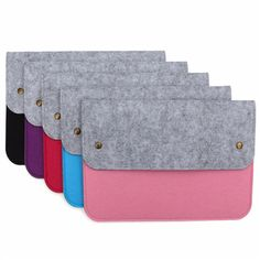 Colohas Newest Fashion Slim Soft Wool Felt Laptop Protect Case Bag Cover For Macbook 11'' 12'' 13'' 15'' Rose red Purple Black B