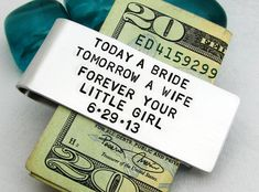 Father of the Bride Personalized Money Clip by FiredUpLadiesHammer, $29.00