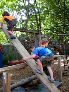 Up the down slide, children assessing their own risk.  Aug 15. 2013