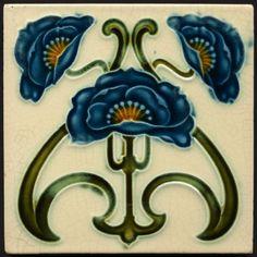 """Collectable Tiles Style/technique: Art nouveau majolica Manufacturer: Corn Bros Dimensions: 6"""" x 6""""Date: circa 1902 Colours"""