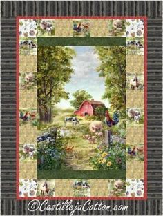 """Farm panel with simple pieced borders. Pieced panel quilt pattern. Fabric panel with a fussy cut block border. Finished Size: Lap/Throw 54"""" x 72"""" Skill Level: Advanced Beginner Technique: Pieced"""