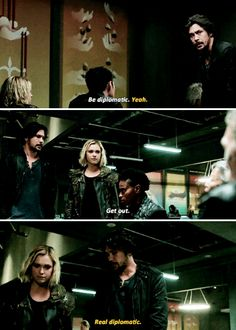 Bellamy and Clarke acting REAL Tough.