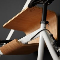 The brand BENT speaks for itself: This wooden bike shelf has to go through a complicated process where different layers of wood are glued together and fixed in a from. It has to rest like this for many many hours before you can have a look at the final result. A lot of dedication and creativity resulted in this master piece of a bike shelf. Desgined by Lasse from BENT.