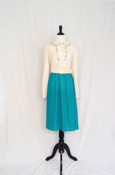 Vintage 1970's 'Party Down'  Cream and Teal Day Dress With Ruffle Accents Size M by BeehausVintage on Etsy