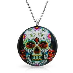 Bling Jewelry Deadly Cute Skull ($9.99) ❤ liked on Polyvore featuring jewelry, necklaces, grey, necklaces pendants, pendant-necklaces, skull jewelry, stainless steel necklace, skull head necklace, pendant jewelry and stainless steel skull pendant