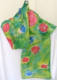 Silk scarf red and blue  poppy hand painted by SilkDesignByJane, $35.00