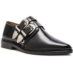 TOGA PULLA Buckled Leather Oxfords (3.120 DKK) ❤ liked on Polyvore featuring shoes, oxfords, leather footwear, black oxfords, black oxford shoes, buckle shoes and black buckle shoes