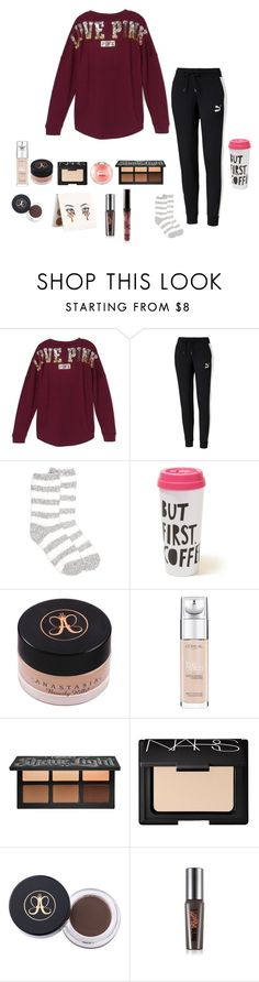 """Happy Saturday guys☺️"" by emily1321 ❤ liked on Polyvore featuring Victoria's Secret, Puma, New Directions, Hollister Co., Anastasia Beverly Hills, L'Oréal Paris, Kat Von D, NARS Cosmetics, Maybelline and Benefit"