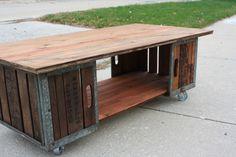 Repurposed crate coffee table