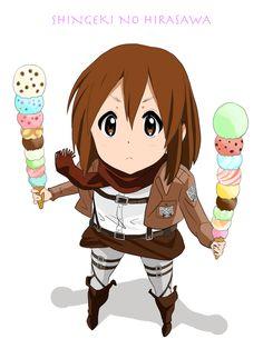 Yui Hirasawa (cross-over) _K-On! & Shingeki no Kyojin K On Anime, Otaku Anime, Manga Anime, Anime Girls, Cute Anime Pics, I Love Anime, Wallpaper Animes, Anime Crossover, Demon Slayer
