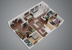 Each bedroom in this layout has its own private bath, which can definitely cut back on the conflict that comes with living in a smaller space.