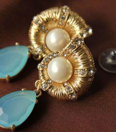 NEW Ocean Blue Shell Pave Crystal Drop Dangle Earrings Beach Pierced Gold Tone  #DropDangle