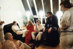 Patrick Magee, Malcolm McDowell, Adrienne Corri, Michael Tarn, Stanley Kubrick and Warren Clarke on the set of Clockwork Orange.