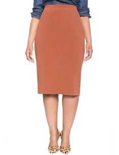 Ottoman Textured Pencil Skirt from eloquii.com - for wrap cardigan with lace layer