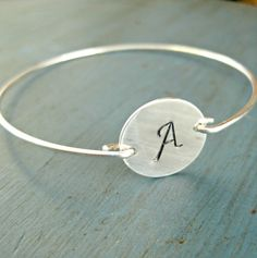 Personalized Silver Bangle Bracelet by vintagestampjewels on Etsy, $20.00