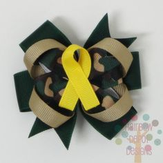 Free USA Shipping Over 20 - Military Support Our Troops Camoflauge Yellow Ribbon Medium Pinwheel Loopy Stacked Hairbow Hair Bow. $4.75, via Etsy.