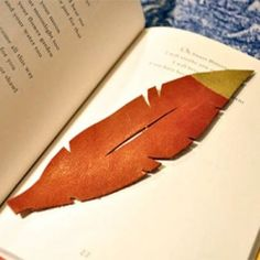 (NO LINK HERE. Image is only for idea.) This gilded feather bookmark takes just 5 minutes to make and is a perfect project for leather scraps.