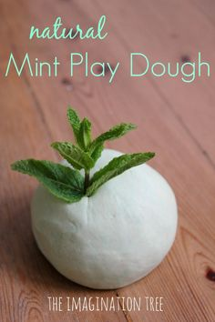 Natural mint play dough recipe. Mint is a naturally alerting scent, so it's great to use right before needing to sit down and read, write, or listen.
