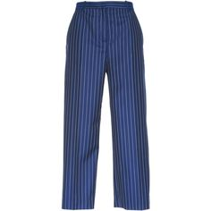 Versace Pinstriped Trousers ($675) ❤ liked on Polyvore featuring pants, capris, co-ords, blue pants, pinstripe pants, blue pinstripe pants, cropped capri pants and blue crop pants