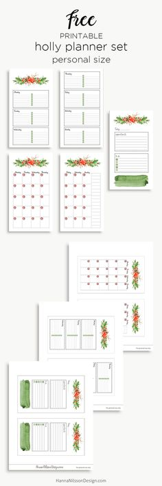 Free Printable Holly Planner Set from Hanna Nilsson Design {subscription required}