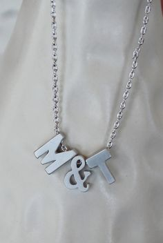 Tiny+Silver+Ampersand+and+Initial+Necklace...Small+by+brinandbell,+$22.50