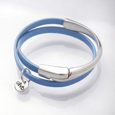 Bracelet demi jonc en cuir et métal argenté