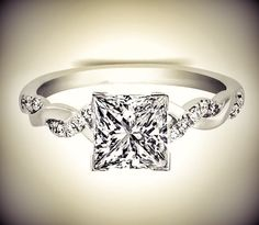 Princess Diamond Petite twisted pave band Engagement Ring.
