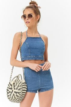 10 Ways To Style The Halter Top Trend This Summer, Summer Outfits, 10 Ways To Style The Halter Top Trend This Summer. Denim Crop Top, Chambray Top, Crop Top Outfits, Casual Summer Outfits, Diy Summer Clothes, Teen Fashion Outfits, Denim Fashion, Fashion Tips, Jugend Mode Outfits