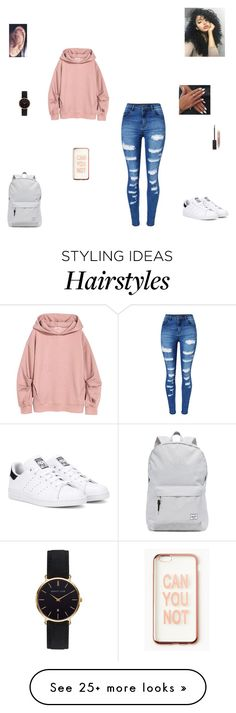 """can you not"" by synclairel on Polyvore featuring WithChic, adidas Originals, Herschel Supply Co., Burberry, Abbott Lyon, Missguided, Winter, cute, casual and ootd"