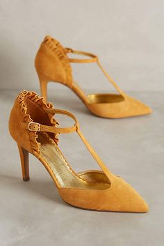 8b18bd384 Miss Albright Frilled T-Straps » LOVE the ruffle! Yellow Heels, Yellow  Tights