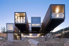 Sebastián Irarrázaval - The prefabricated, shipping container Caterpillar house, Santiago 2012 (prev). Via, photos (C)  Sergio Pirrone.