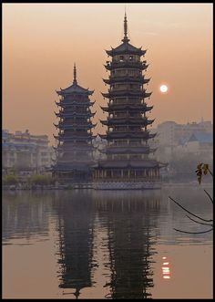 Sun and Moon Pagodas, Guilin, Guangxi, China Chinese Buildings, Chinese Architecture, Beijing, Monuments, Places To Travel, Places To See, Vietnam, Chinese Landscape, Guilin