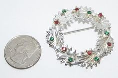SOLD ~ Vintage Dodds Rhinestone Christmas Wreath Brooch Pin Costume Jewelry | eBay