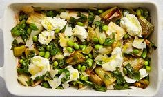 Roast leeks and soya beans with buffalo mozzarella