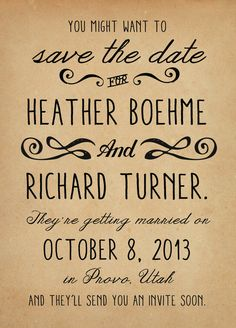 Rustic Wedding Save the Date Card  Vintage Casual by inoroutmedia, $60.00