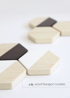 DIY Wood Hexagon Coasters - almost too pretty to place a drink on! Could double as toys for little ones?