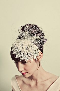 Venetian lace cap headband with chenille dot netting- style 116From mignonnehandmade