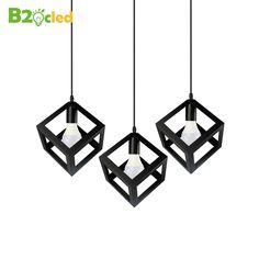 66.50$  Buy here - http://ali42a.shopchina.info/go.php?t=32697964907 - Europe simple style three head pendant light square LED 3 head Hanging lamp with E27 LED bulb Retro iron art  white black 66.50$ #bestbuy