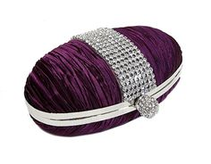 PURPLE HARD-BACK OVAL CLUTCH BAG WITH DIAMANTE DESIGN, £11.99